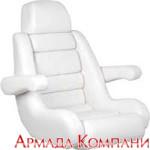 Кресло капитанское с валиком Flip-Up и подлокотниками (белое)