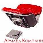 Сиденье всепогодное низкопрофильное со сменными подушками, красно-серое